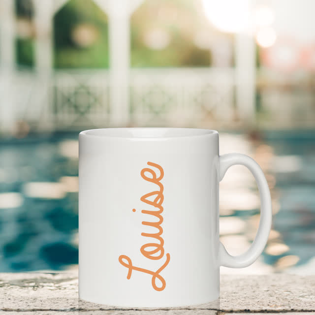 Orange Name White Mug