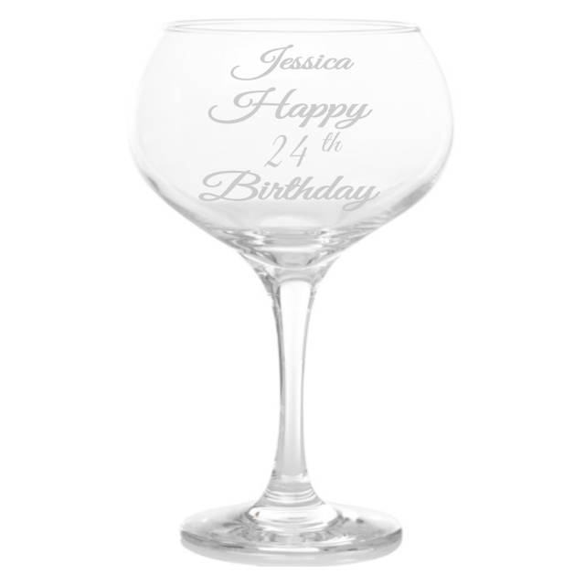 Personalised Age Birthday Baloon Gin Glass