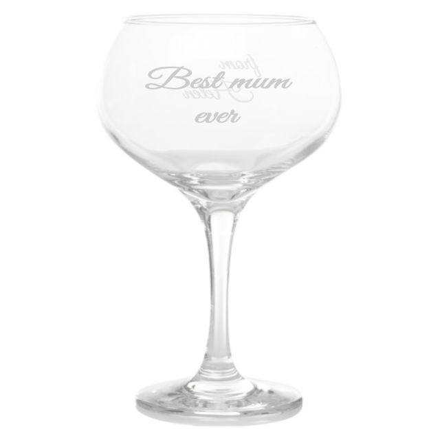 Personalised Best Mum Baloon Gin Glass
