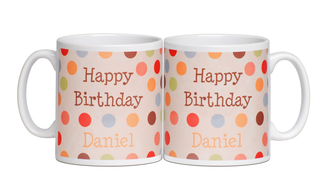 Personalised Birthday Mug - Dotty design