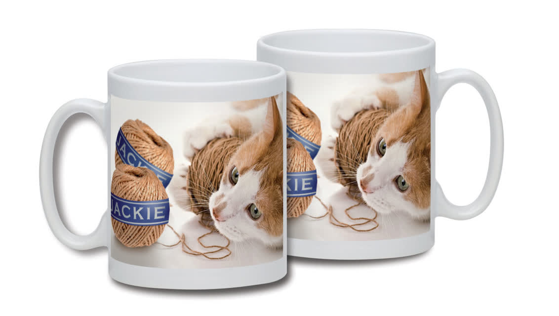 Personalised Cat and String Mug