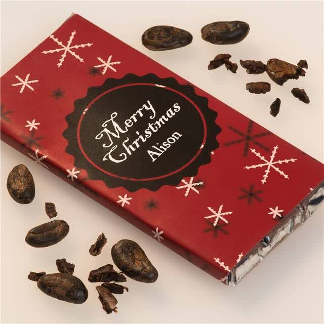 Personalised Christmas Chocolate Bar - Snowflakes