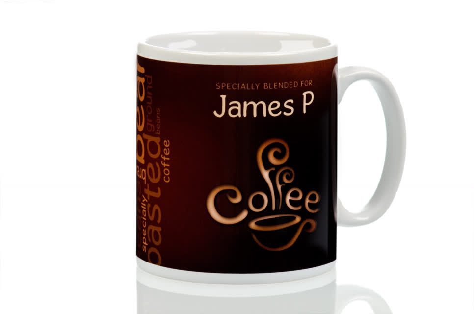 Personalised Coffee Lovers Mug Coffee Bean Design