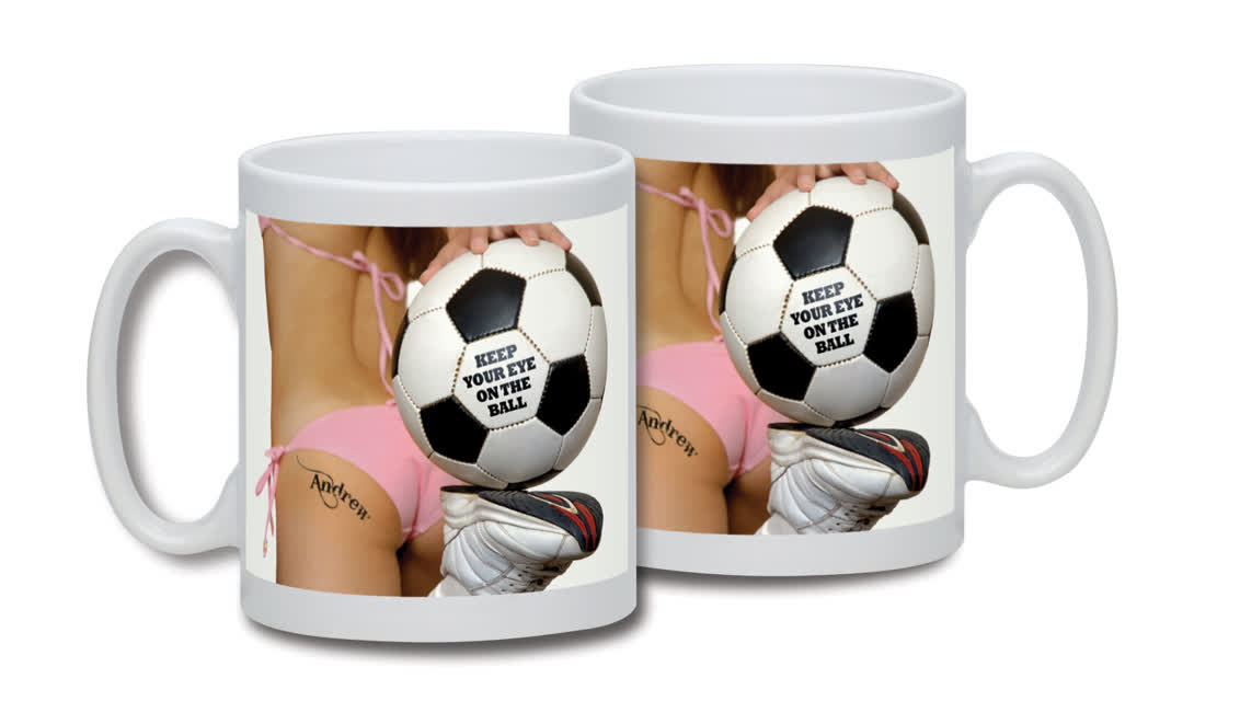 Personalised Cute Football Tattoo Mug
