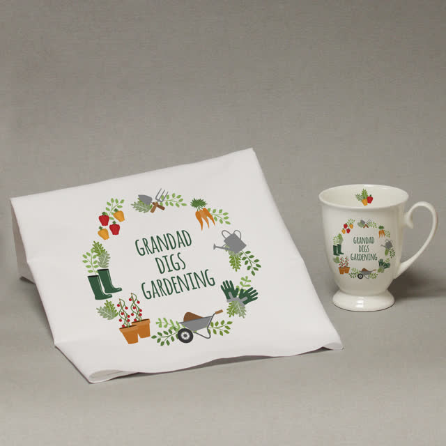 Personalised Digs Gardening Marquee Mug And Tea Towel Set