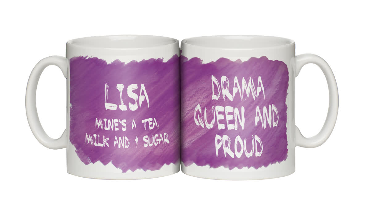 Personalised Drama Queen and Proud Mug