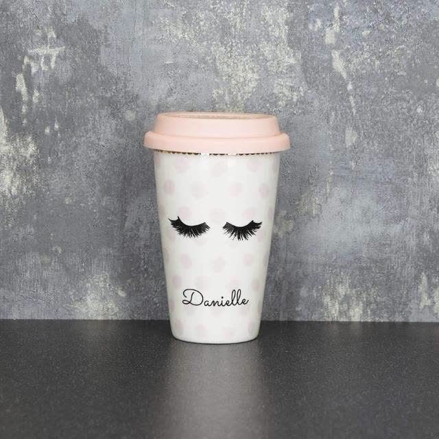 Personalised Eyelash Travel Mug