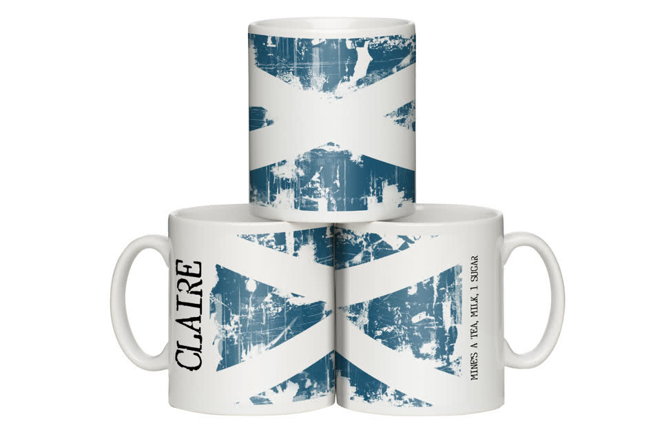Personalised Grunge Design Scotland Flag Mug