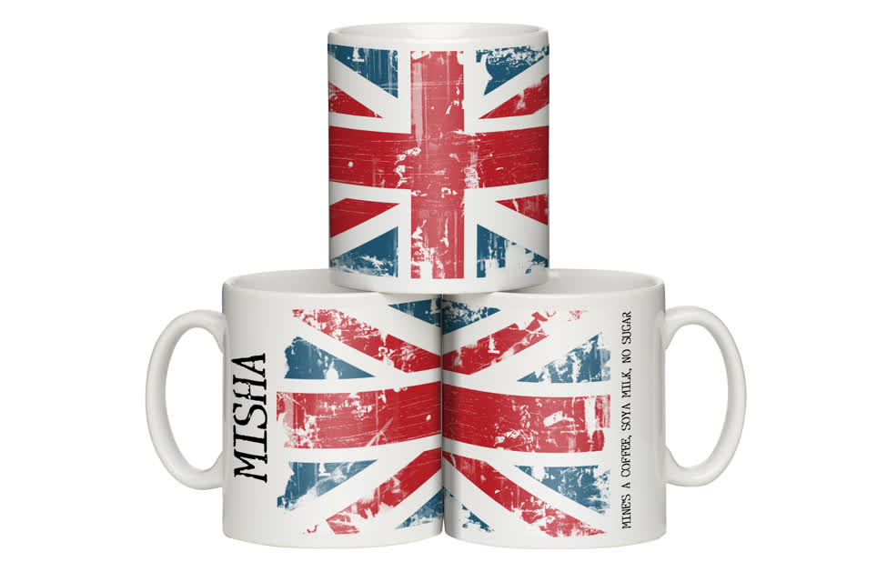 Personalised Grunge Style Union Jack Mug