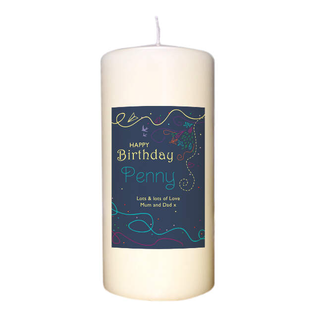 Personalised Happy Birthday Ivory Candle for Her