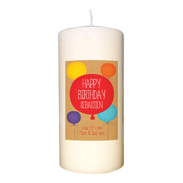 Personalised Happy Birthday Ivory Candle for Him