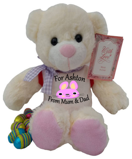 Personalised Harry The Teddy Bear Pink Bunny