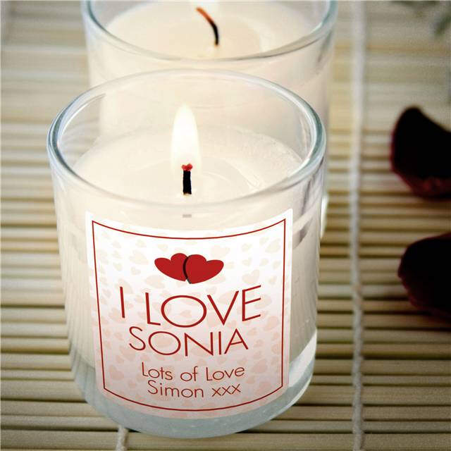 Personalised 'I Love' Vanilla Scented Candle