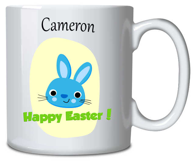 Personalised Mug Easter Bunny Blue