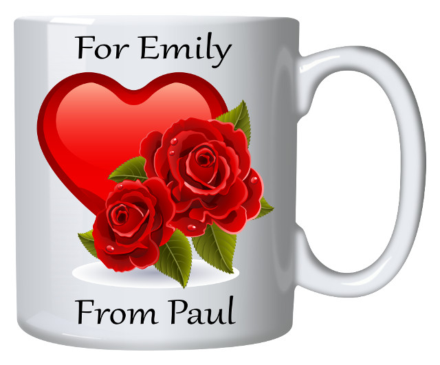 Personalised Mug Heart And Roses