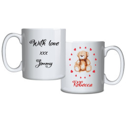 Personalised Mug Teddy In Hearts Circle