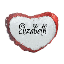 Personalised Name Magic Reveal Red Sequin Cushion Cover Heart Shaped