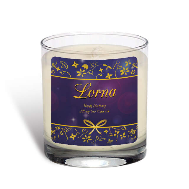 Personalised Ornate Design Vanilla Scented Candle