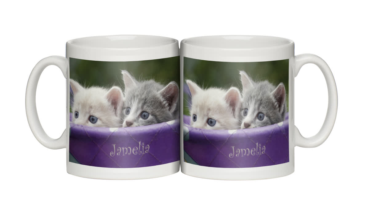 Personalised Peeking Kittens Mug