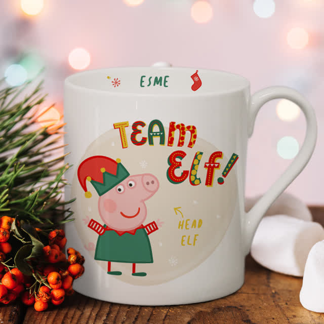 Personalised Peppa Pig™ Team Elf Balmoral Mug