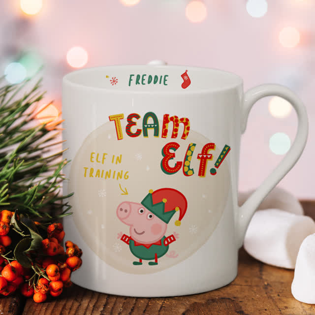 Personalised Peppa Pig™ Team Elf George Pig Balmoral Mug