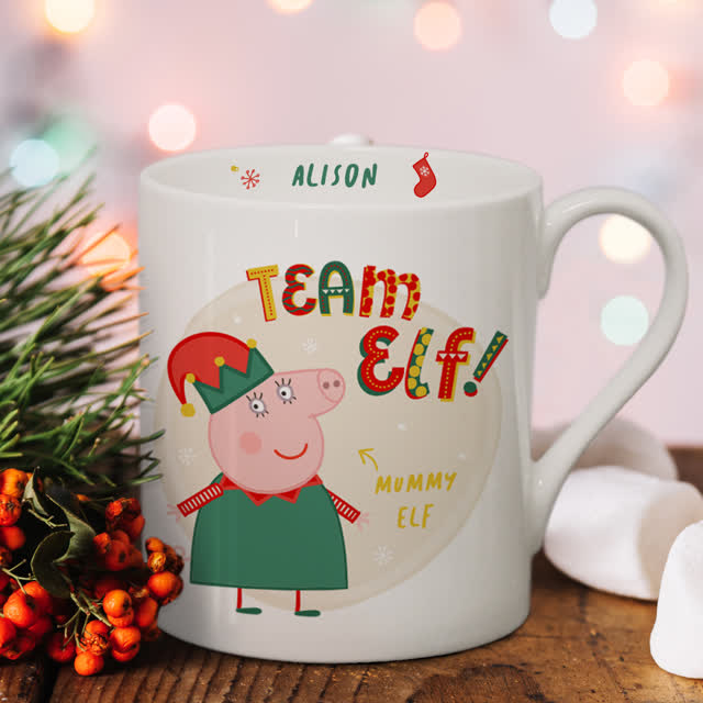 Personalised Peppa Pig™ Team Elf Mummy Pig Balmoral Mug