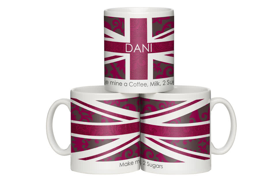 Personalised Pink Union Jack Mug