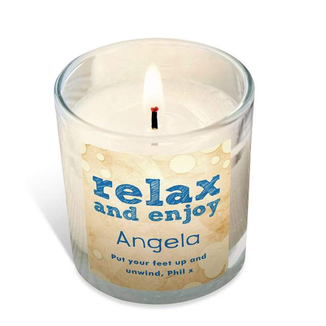 Personalised 'Relax and Enjoy' Vanilla Scented Candle