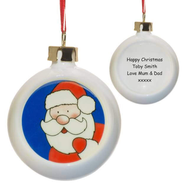 Personalised Santa Claus Flat Faced Bauble