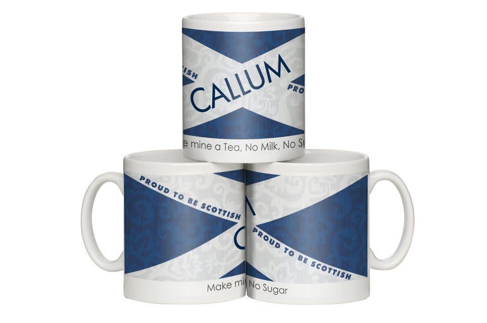 Personalised Scottish Flag Shabby Chic Mug