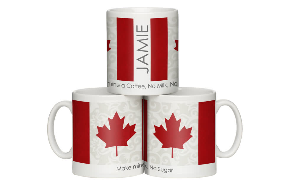 Personalised Shabby Chic Canadian Flag Mug
