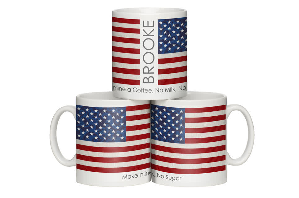 Personalised Shabby Chic United States Flag Mug