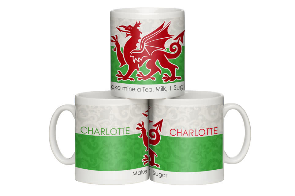 Personalised Shabby Chic Wales Flag Mug