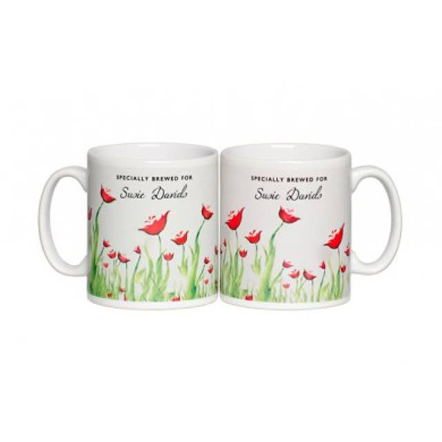 Personalised Tea Lovers Mug - Poppy Design