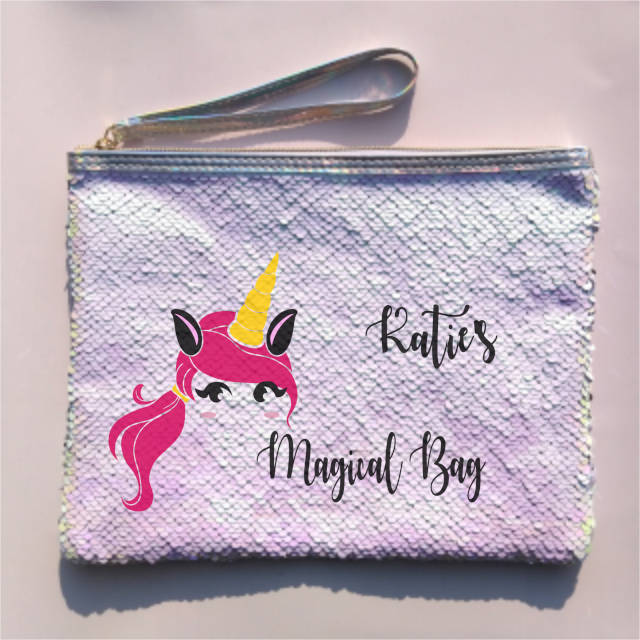 Pink Hair Unicorn Personalised Sequin Pouch Bag