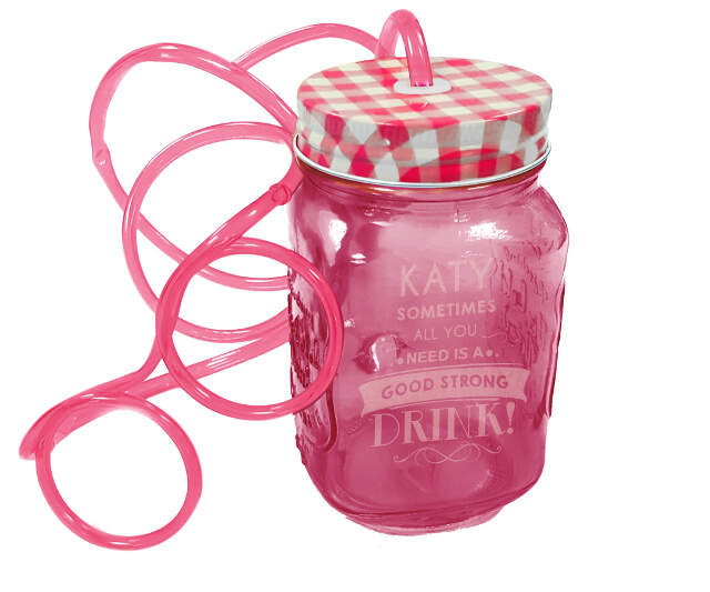 Pink Mason Jar with Glasses