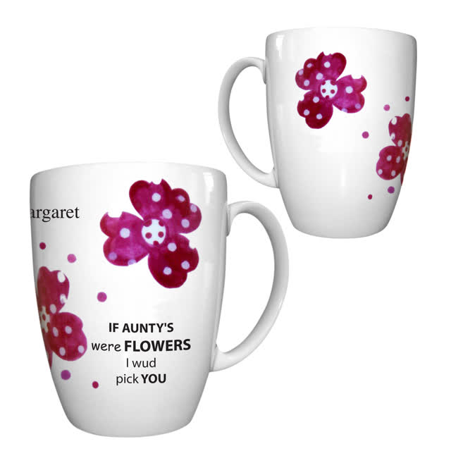 Pink Pansies Auntie Bone China Conic Mug