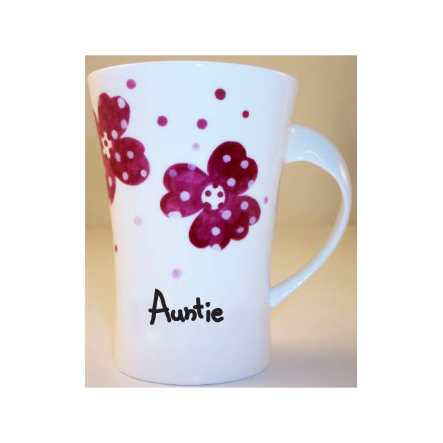 Pink Pansies Auntie Twist Handle Mug