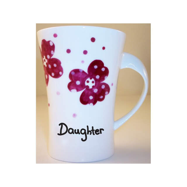 Pink Pansies Daughter Twist Handle Mug