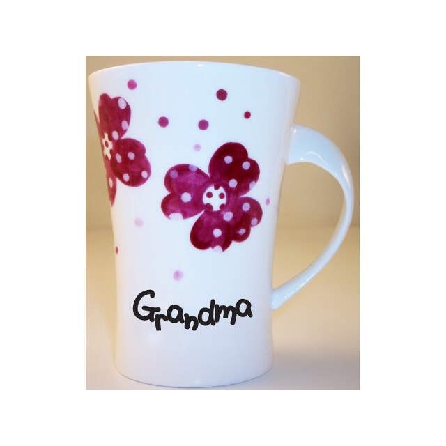 Pink Pansies Grandma Twist Handle Mug