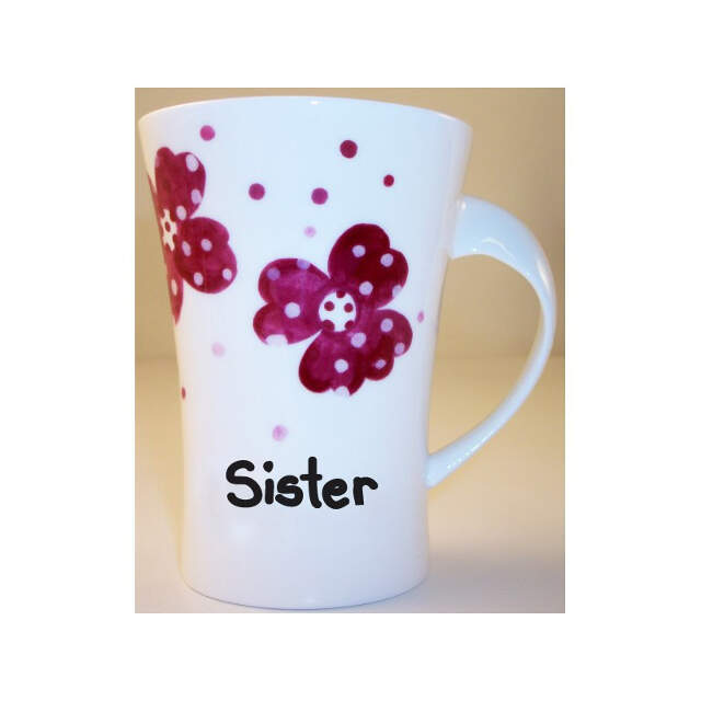 Pink Pansies Sister Twist Handle Mug