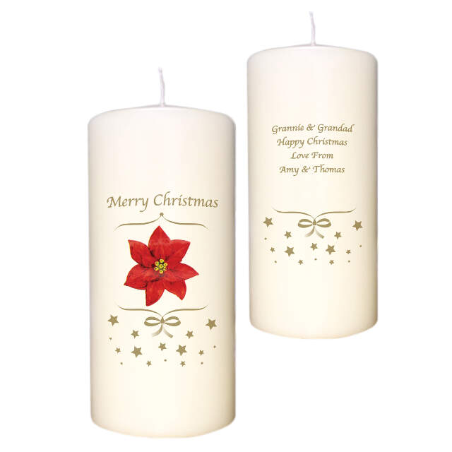 Poinsettia Christmas Candle