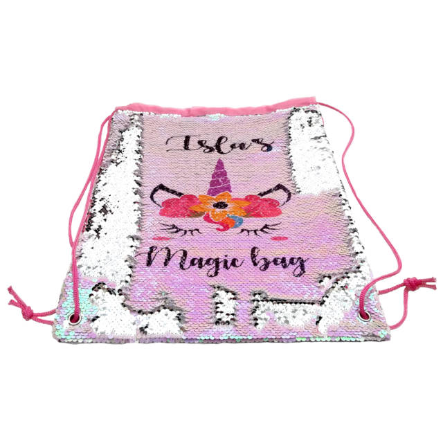 Poppy Unicorn Personalised Sequin Drawstring Bag