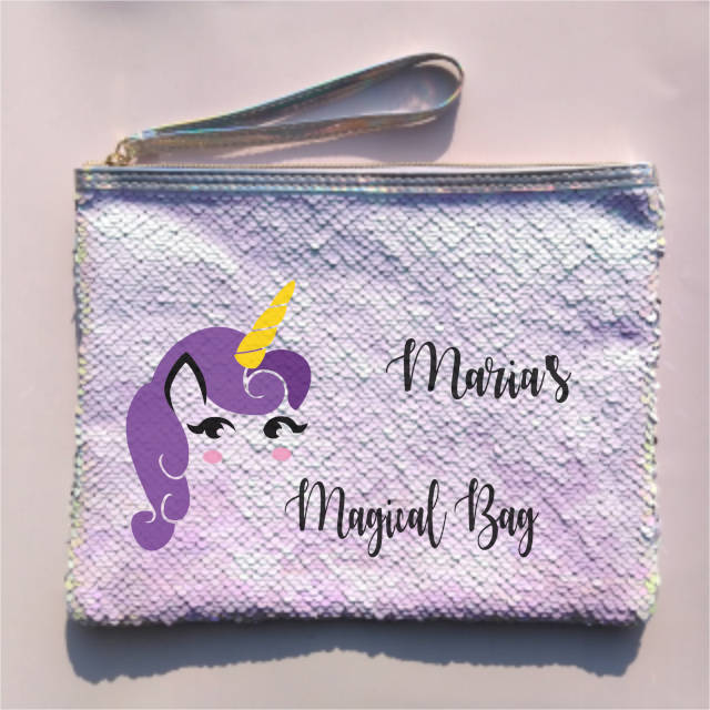 Purple Hair Unicorn Personalised Sequin Pouch Bag