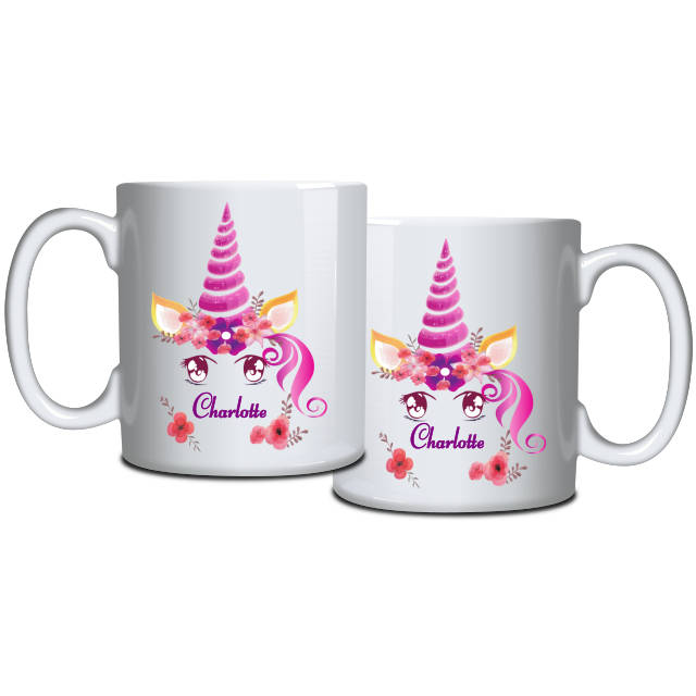 Purple Unicorn and Poppies Personalised Mug