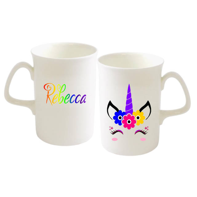 Purple Unicorn Flowers Rainbow Name Bone China Mug