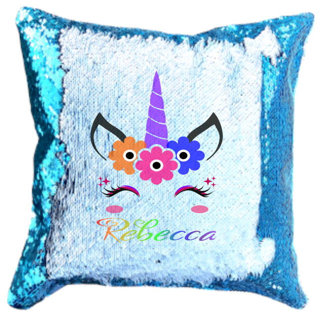 Purple Unicorn Flowers Rainbow Name Sequin Cushion Cover