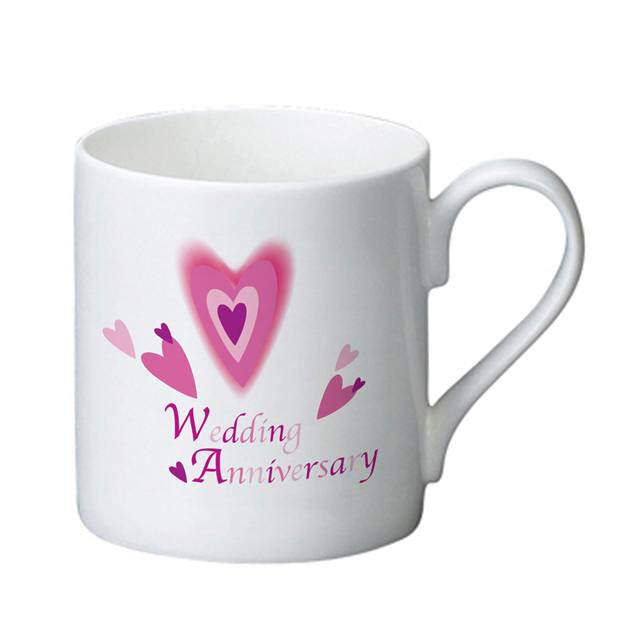 Red Hearts Anniversary Bone China Mug