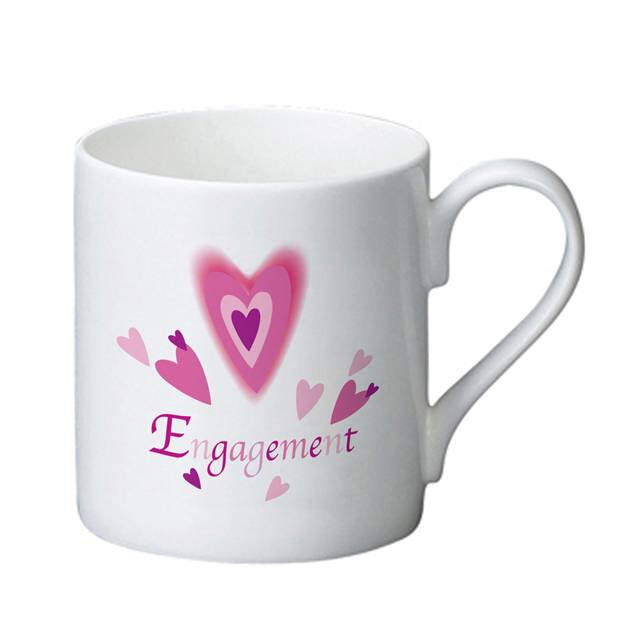 Red Hearts Engagement Bone China Mug