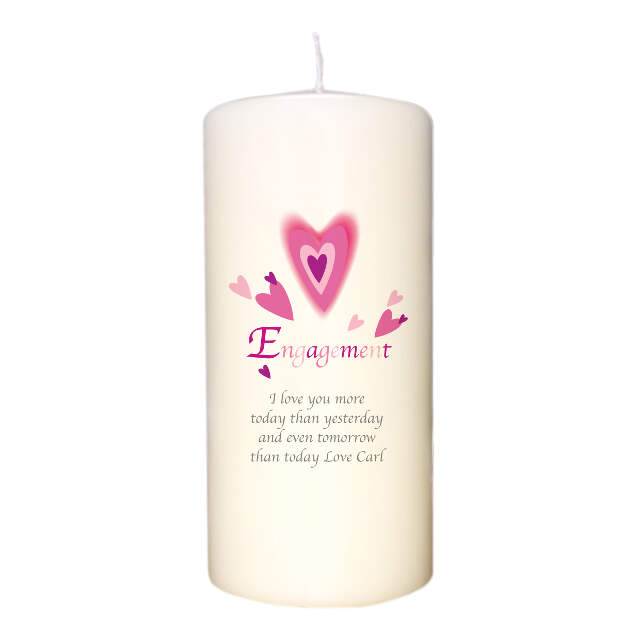 Red Hearts Engagement Candle